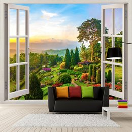 outdoor photo background Australia - Custom Photo Wallpaper 3D Stereoscopic Outdoors Landscape Window Murals Living Room Sofa Background Wall Decoration Wallpaper arkadi