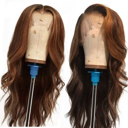 $enCountryForm.capitalKeyWord Australia - Ombre Color Deep Part Human Hair lace Front Wig With Baby Hair Remy Hair 130% Pre-Plucked Real Front Lace Wig