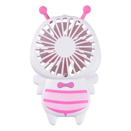 speed gear UK - Rechargeable Bees Led Fan 2 Speeds Gears Desk PC Summer Cool Electric Gadgets Ventilation Portable Turntable Mini Small Fan Air Conditioner