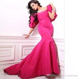 $enCountryForm.capitalKeyWord Australia - Middle East Vestidos De Festa Dress Evening Dresses Scoopes Capped Sleeve Fuchsia Bow Mermaid Prom Dress Elegant Vintage Party Gown