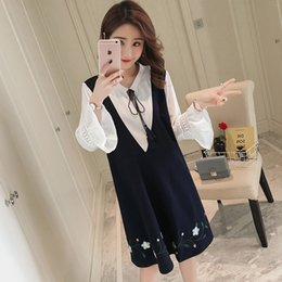 women style pregnant dress Canada - 2019 Autumn Pregnant Women Embroidery Loose Mini Dress Pregnancy Lacing Up Collar Preppy Style Long Flare Sleeve Floral Dresses