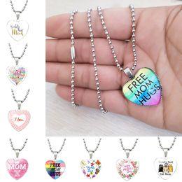 $enCountryForm.capitalKeyWord Australia - Love You MOM designer Necklace Free mom hugs Glass Heart Shape jewelry Pendants Best Mom Mother Day Gift Wholesale