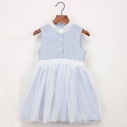 1ca7cbdd9f2df SleeveleSS turtleneck dreSSeS online shopping - 2019 Baby Girl clothes  Striped dresses with tulle Sleeveless Lace