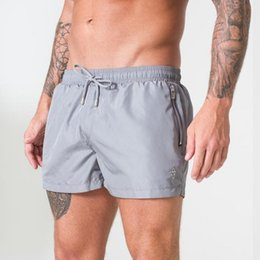 White Workout Shorts Australia - Shorts Men Summer Beachwear Gray Quick Dry Breathable Drawstring Pocket Sports Fitness Gym Workout Short Pants Sportswear