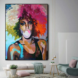 $enCountryForm.capitalKeyWord Australia - Abstract Bubble Gum Girl African Woman Oil Painting on Canvas Posters and Prints Scandinavian Wall Art Picture No Framed