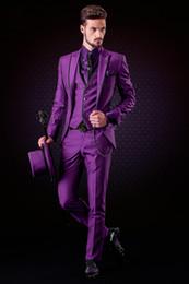 Images Fashionable Suits Australia - Fashionable Fuchsia Groomsmen Peak Lapel Groom Tuxedos Men Suits Wedding Prom Dinner Best Man Blazer(Jacket+Pants+Tie+Vest) A183
