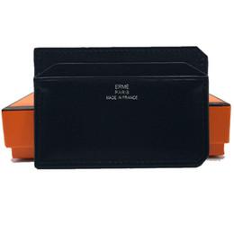 24ccc912f Modelo pequeño Titular de la identificación de la tarjeta Monedero Bolsa de  bolsillo Hombres de negocios Clásico Negro Piel genuina Estuche de la  tarjeta de ...