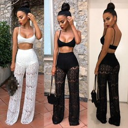 36dec90ea39 Mesh Women 2 Piece Outfit Set Ladies Sleeveless Tank Top and Lace Long Pants  Set Summer Clubwear Women Casual Outfit