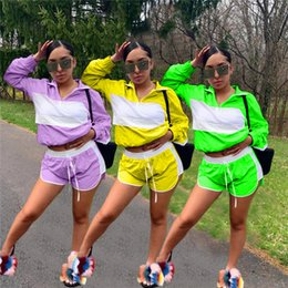 Purple Football Tracksuits Australia - Women Patchwork Sheer Mesh Tracksuit Jacket + Drawstring Shorts Outfit Jumpsuits Summer 2 Piece Wind Breaker Sportswear Jogger Suit C41503