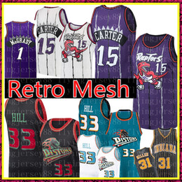 28214abfb82 NCAA Vince 15 Carter Jersey University Grant 33 Hill Retro Mesh Tracy 1  McGrady Reggie 31 Miller Basketball Jerseys Size S-XXL