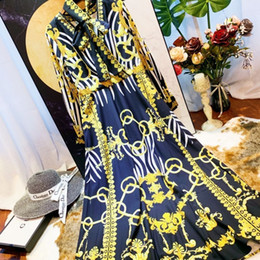 $enCountryForm.capitalKeyWord Australia - New 2019 spring print casual shirt long dress ladies and women long-sleeved A-shaped Baroque party robe designer dress