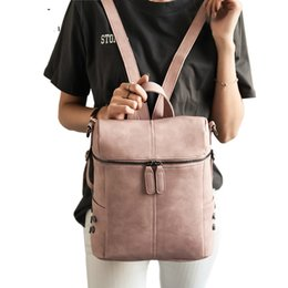 $enCountryForm.capitalKeyWord Australia - Simple Style Backpack Women Leather Backpacks For Teenage Girls School Bags Fashion Vintage Solid Black Shoulder Bag Youth XA568