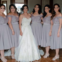 Green draped dress online shopping - Light Gray Cheap Short Bridesmaid Dresses Off Shoulder Plus Size A Line Tea Length Maid of Honor Dresses Prom Party Gowns Custom Made