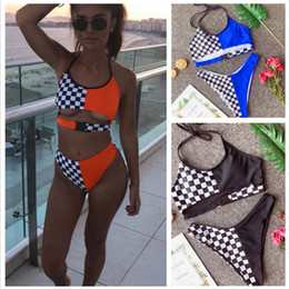 trajes bano оптовых-Patchwork Swimwear Bikinis Set Women Padded Swimsuit High Waist Bikinis Mujer Trikinis Bandeau Swiming Suit trajes de bano