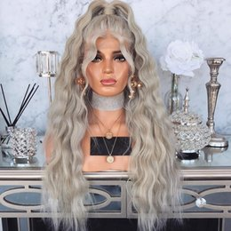 $enCountryForm.capitalKeyWord Australia - Free Shipping High Temperature Fiber Sliver Grey Synthetic Lace Front Wig With Baby Hair 180 Platinum Blonde Loose Wave Wigs For Women