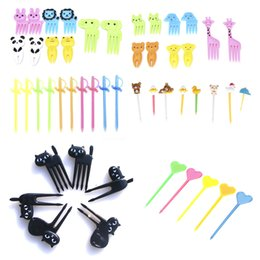 Plastic Toothpick Wholesale Australia - 6 8 10 12 50pcs Plastic Forks Animal Reusable Pick Toothpick Bento Accessories Kitchen Bar Kids Dessert Tableware Party Supplies