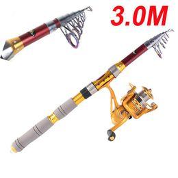 Wholesale 3M 9.84FT Portable Telescope Fishing Rod Travel Spinning Fishing Pole H10186
