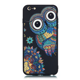 Plus Owl Case NZ - For iPhone 6Plus Case Black Soft TPU Matte Painting Owl Feather formula Color dog Boxing Cat Cover For iPhone 6S Plus