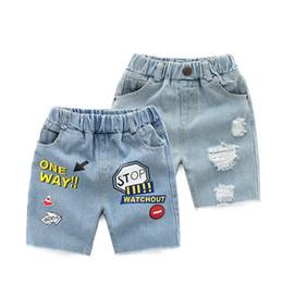Toptan satış Çocuk Delik Kot Erkek Yaz Pantolon Kore Şort Yeni Çocuk Bebek Pantolon