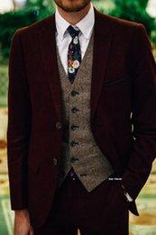 Back slimming vest online shopping - Burgundy Wool Wedding Tuxedos Men Suits Herringbone Tweed Groom Outfits Best Man Suits Men s Blazer Prom Custom Made Jacket Pants Vest