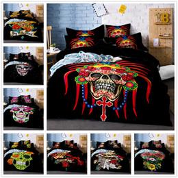 3d Bedding Set White Rose Australia - 3D Halloween Bedding Set Skull Rose Duvet Cover Quilt Cover Pillowcase Set Black