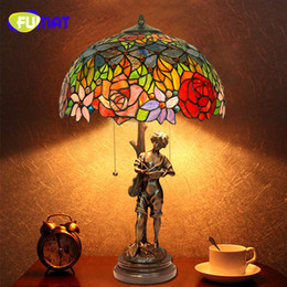 Studying Glasses NZ - FUMAT Copper Music Prince Virgin Art Decoration Flower Stained Glass Shade European Retro Creative Bedroom Study Table Lamps