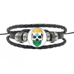 India Alloys Australia - 2019 New Fashion India National Flag Time Gem Glass Cabochon Skull Series Button Bracelets Genuine Leather Rope Beaded Jewelry For Men Women