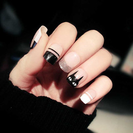 Cute aCryliCs nails online shopping - 24pcs Candy Pink Black Color False Nails DIY Size Design Full Cover Nail Art Tips with Glue Girls Cute Cat Printing Fake Nail