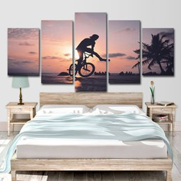 $enCountryForm.capitalKeyWord Australia - HD Printed 5 Pieces Bicycle Healthy fitness Wall Art Canvas Painting For Living Room Bedroom Modular Home Decor