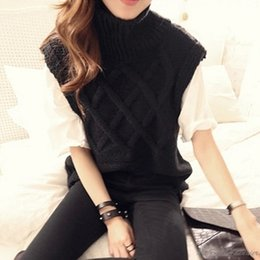 Discount black sweater outfits - 2016 Spring Summer High Street Outfits Women Vest Sweater Ladies Fashion Casual Sleeveless Turtleneck Pullovers Off Shou