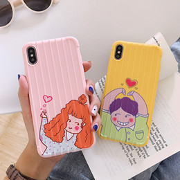 apple couple NZ - For Iphone Xs Max X Xr Phone Case Boy Girl Couple For Apple 7 8 6 Plus Suitcase Design Soft Cell Phone Cases