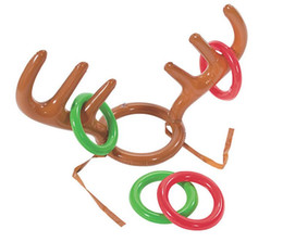 child reindeer antlers UK - Inflatable Reindeer Antler Hat For Children Christmas Toy Headwear Cap Accessories Party Articles Kid Gift SN92