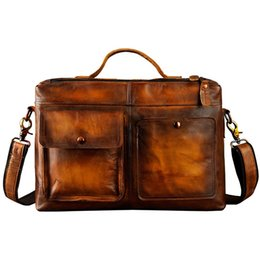 Mens Leather Messenger Bags UK - Mens Original Leather Design Business Briefcase Laptop Bag Professional Executive Portfolio Lawyer Portfolio Messenger Bag 2119d #511195
