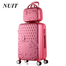 "China 2PCS SET Lovely 14"" Cosmetic bag hello Cat 20 22 24 28 inch girl students trolley case Travel luggage woman rolling suitcase cheap suitcase girl suppliers"