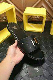 Men italian slippers online shopping - New Italian brand summer men s slippers rivet quality indoor beach flat walking men s casual shoes size