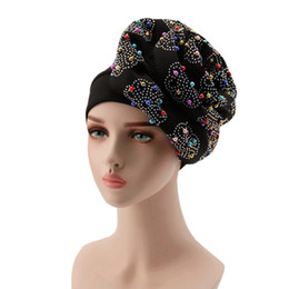 New arrival royal blue african gele aso oke headtie with stones and beads turban headtie wrapper 001 for wedding on Sale