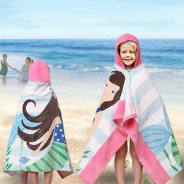 Towels Bathrobes Australia - Children Cartoon Beach Towel Cotton Bathrobe Animal Printed Striped Towels Girls Hooded Bath Towel Absorbent127X76cm 120X60cm