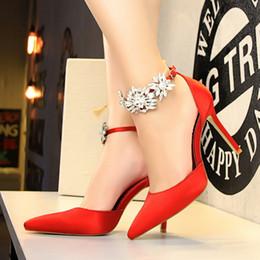 $enCountryForm.capitalKeyWord Australia - Fairy2019 Show Evening High-heeled Shoes Woman Fine With Sexy Sharp Rhinestone One Word Bring Sandals Pink Marry Bride Bridesmaid Shoe