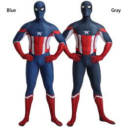 Carnival Suits Kids Australia - New Design Captain America Spider Man Costume Cosplay Zentai Suit Superhero Costume