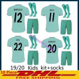a2e176e07 Kids kit+socks 19 20 Real madrid Soccer jerseys THIRD GREEN 2019 2020  BENZEMA MODRIC isco MARCELO bale ASENSIO camiseta de futbol FOOTBALL