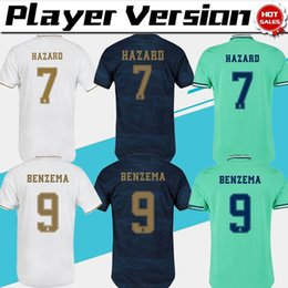 Wholesale Player Version Real Madrid HAZARD BENZEMA home Soccer Jerseys Men away blue KROOS JAMES rd green Football Uniforms