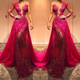 one sleeve prom dresses sparkly Australia - Glitter Fuchsia Sequin Prom Dresses One Shoulder Mermaid Sparkly Long Sleeves Formal Evening Celebrity Elegant Gowns Custom Made