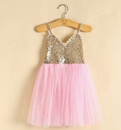 bf8ec163c70 Blue Tutu Suspenders NZ - Girls Sequins princess dress latest summer  children sequins lace back suspender