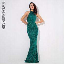 aac950cac61 Love lemonade Green Strapless Slim Elastic Sequin Material Fishtail Shape  Long Dress Lm1079 Y19012201