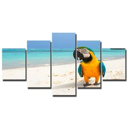 children beach paintings Australia - Artryst Child Wall Art decorative Canvas Painting Epic Parrot on the Beach Wall Pictures Prints decoration Kids Room Decor WY082