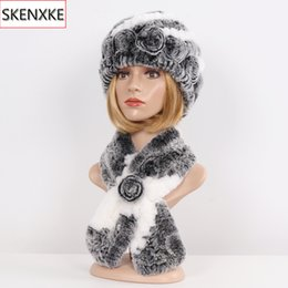 Discount blue rabbit fur scarf - Hot Sale Lady 100% Natural Fur Hats Scarves Sets Women Winter Knit Real Rex Rabbit Fur Hats Muffle 2 Pieces Real Hat Sca