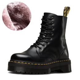 RubbeR sole woRk boots online shopping - 5cm thick fur durable sole cowskin martin boots ankle booties luxury designer women boots genuine leather platform boots size to