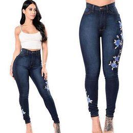 $enCountryForm.capitalKeyWord Australia - Women Trousers Embroidered Stretch Jeans Fashion Ladies Print Pencil Pants Slim Female Full Length Jean Pants