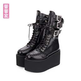 $enCountryForm.capitalKeyWord Australia - Princess sweet lolita shoes Darkness Gothic wind Boots Super-high heel side zipper thick-bottomed custom muffin boots pu918