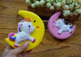 moon toys UK - 30pcs Slow Rising Squishy Unicorn Moon Icecream Flash Powder Kawaii Phone Charms Pendant Straps Christmas Gift Stress Reliever R126
